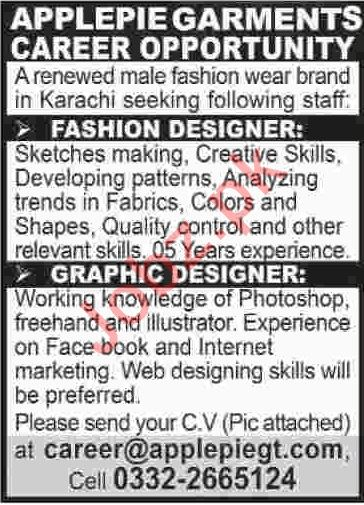 Apple Pie Garments Karachi Jobs 2020 For Fashion Designer 2020 Job Advertisement Pakistan