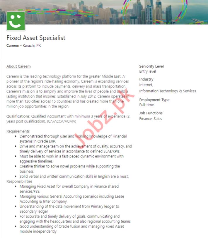Careem Karachi Jobs 2020 for Fixed Asset Specialist