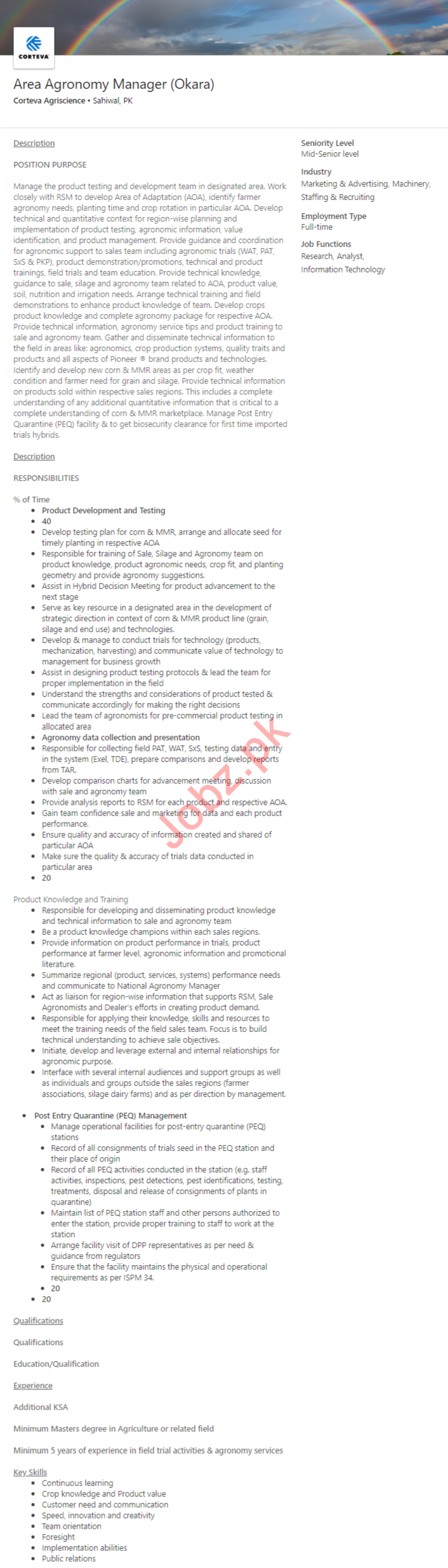 Corteva Agriscience Lahore Jobs 2020 for Manager