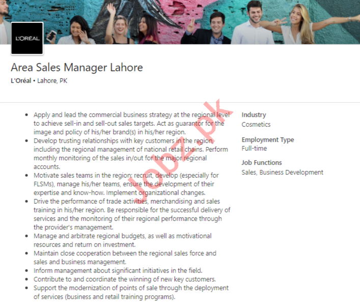 LOreal Lahore Jobs 2020 for Area Sales Manager