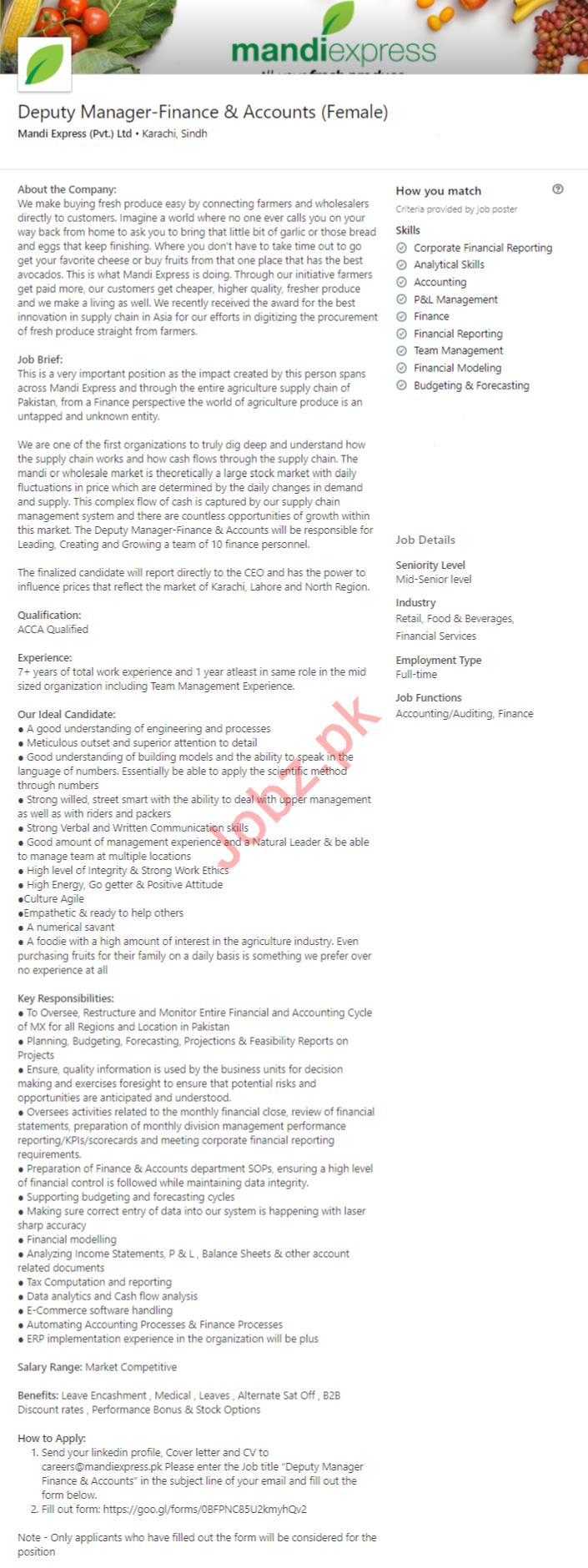 Mandi Express Karachi Jobs 2020 for Deputy Manager