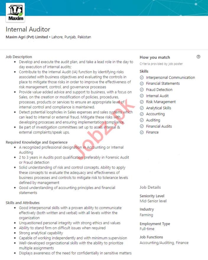 Maxim Agri Lahore Jobs 2020 for Internal Auditor