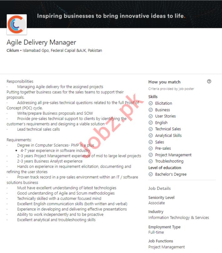 Ciklum Islamabad Pakistan Limited Jobs 2020