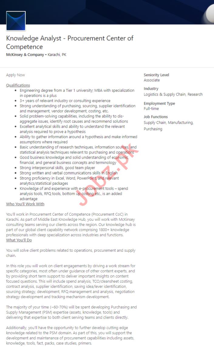 McKinsey & Company Karachi Jobs 2020 Knowledge Analyst