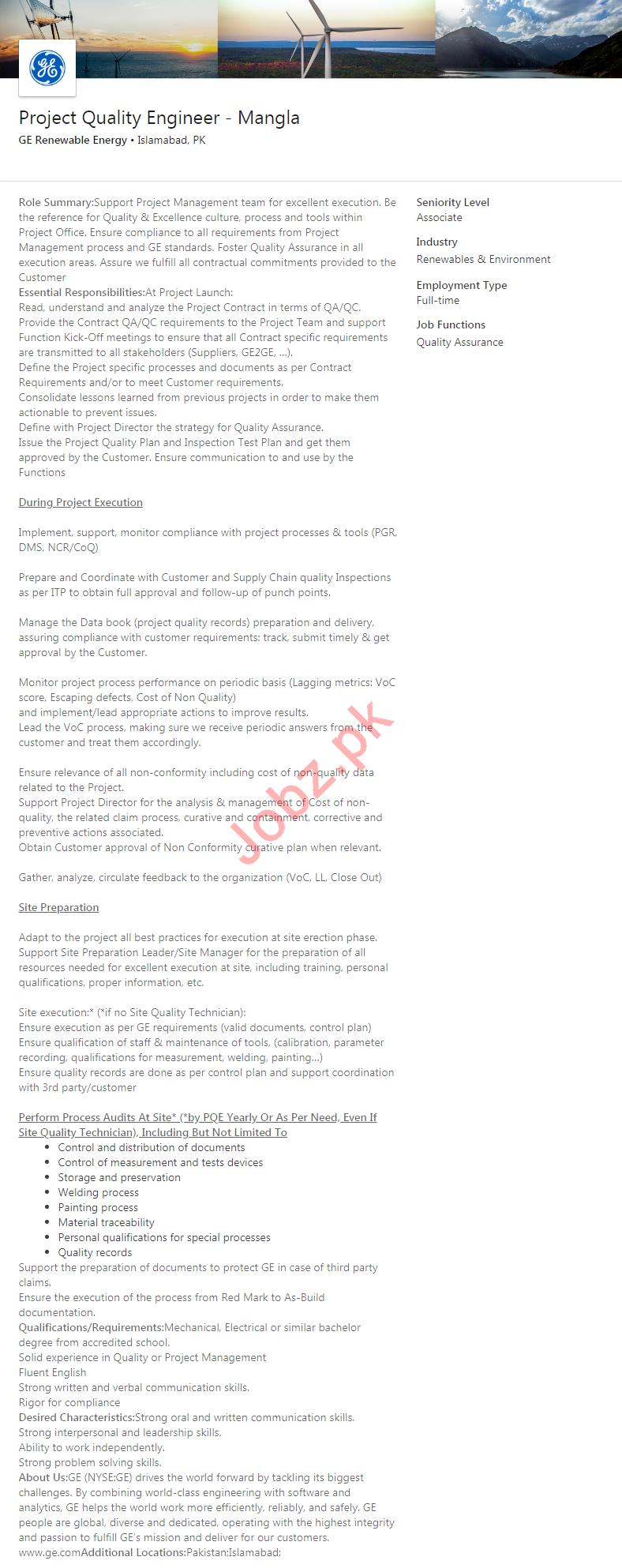 GE Renewable Energy Company Jobs 2020 in Islamabad