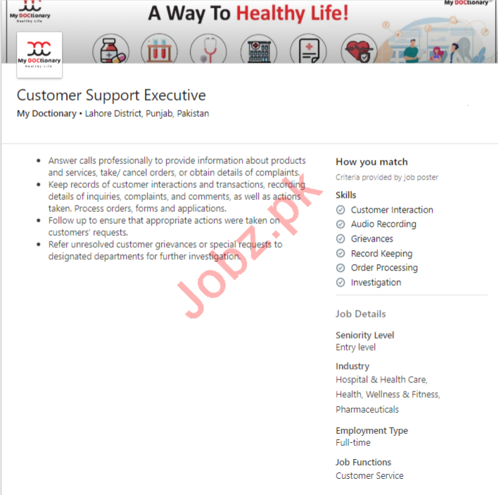 My Doctionary Lahore Jobs 2020 Customer Support Executive