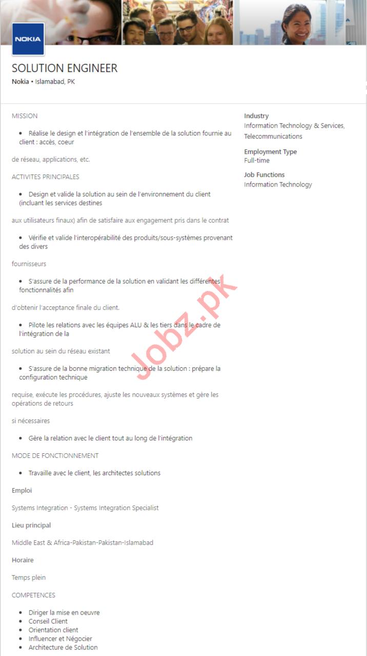 Nokia Islamabad Jobs 2020 for Solution Engineer