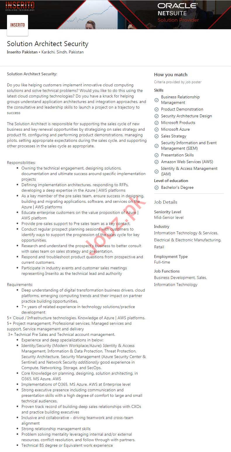 Inserito Pakistan Software Company Jobs 2020 in Karachi