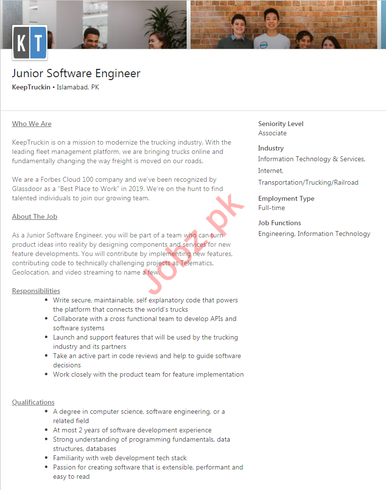 KeepTruckin Jobs 2020 in Islamabad for Software Engineer