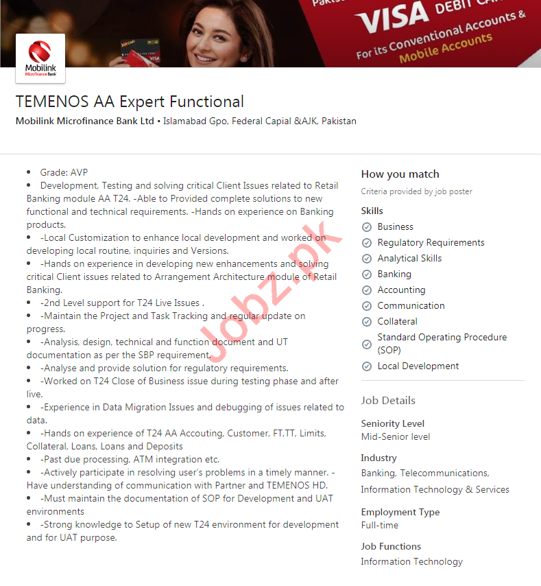 Mobilink Microfinance Bank Limited Jobs 2020 in Islamabad