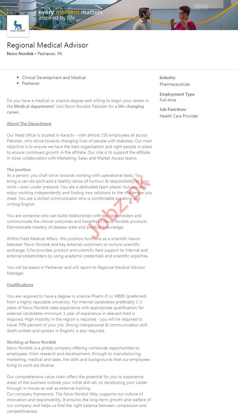 Novo Nordisk Pharmaceutical Company Jobs in Peshawar KPK