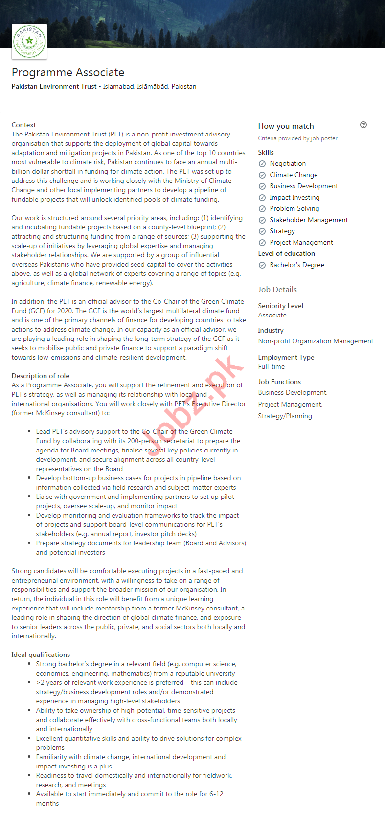 Pakistan Environment Trust NGO Jobs in Islamabad 2020