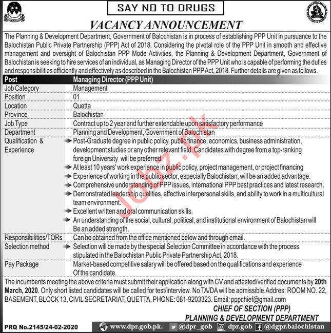 Planning & Development Department Job 2020 in Quetta