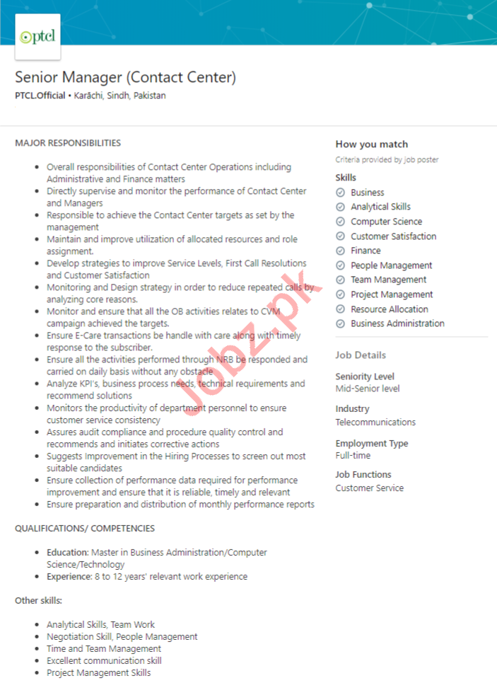 PTCL Pakistan Jobs 2020 for Manager & Assistant Manager