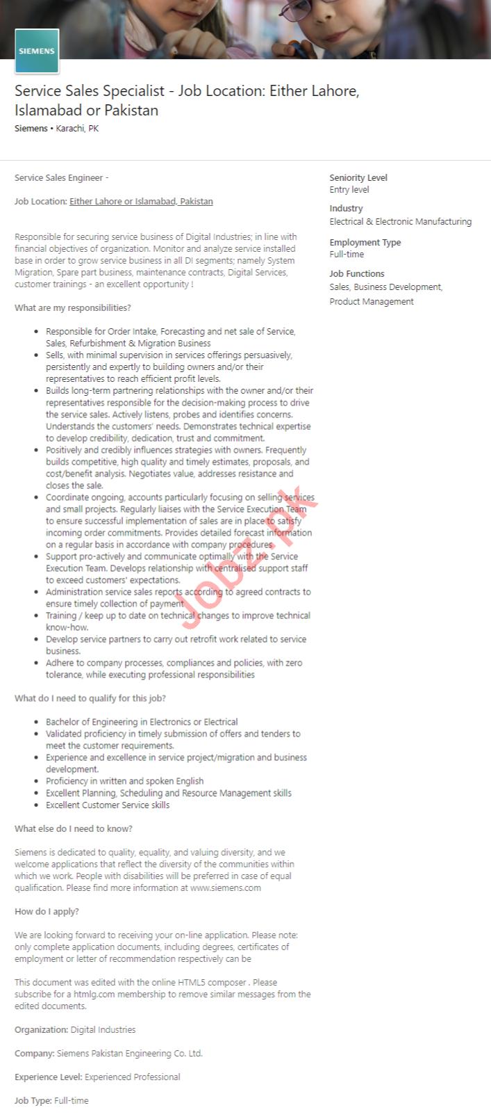 Siemens Pakistan Jobs 2020 for Service Sales Specialist