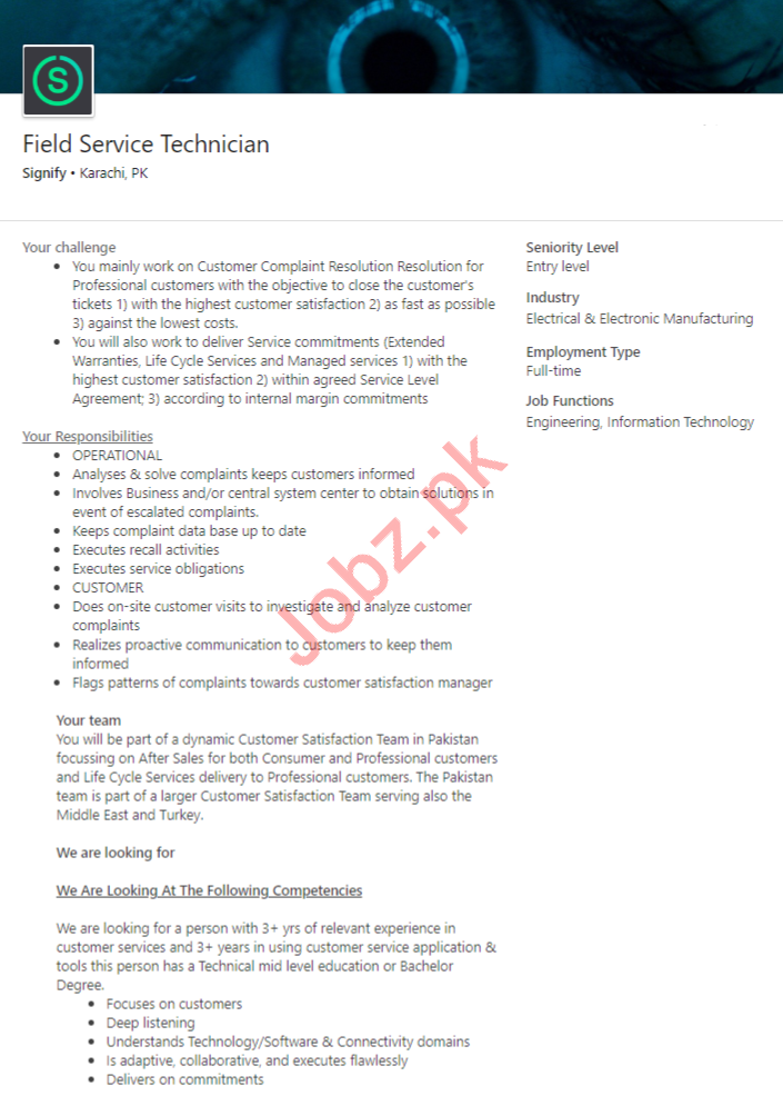 Signify Karachi Jobs 2020 for Field Service Technician