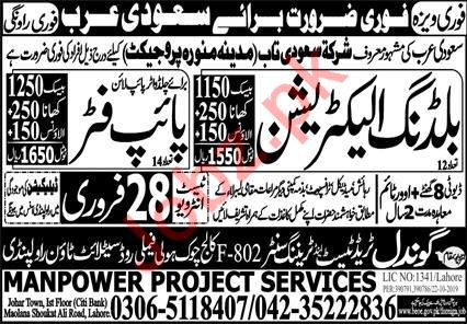 Building Electrician & Pipe Fitter Jobs 2020 in Madinah