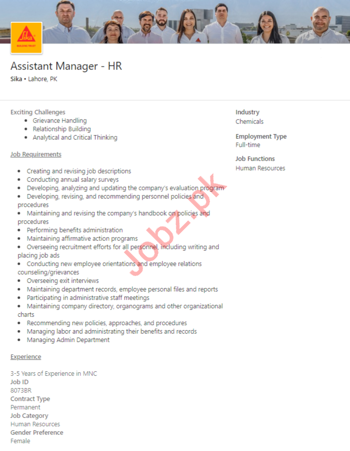 Sika Lahore Jobs 2020 for Assistant Manager