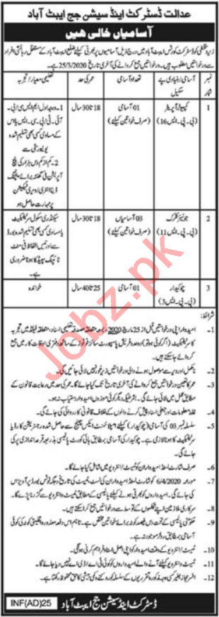 District & Session Judge Abbottabad KPK Jobs 2020