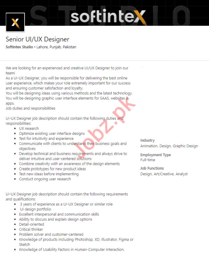 Softintex Studio Lahore Jobs 2020 UI & UX Designer