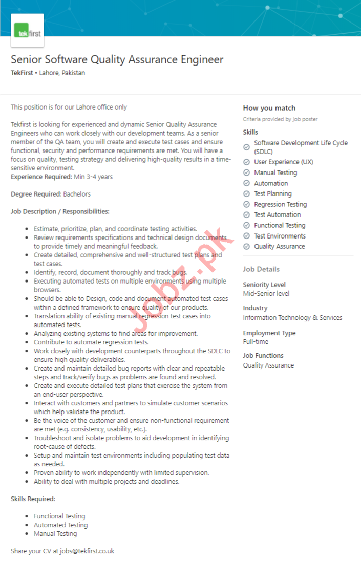 TekFirst Lahore Jobs 2020 Quality Assurance Engineer