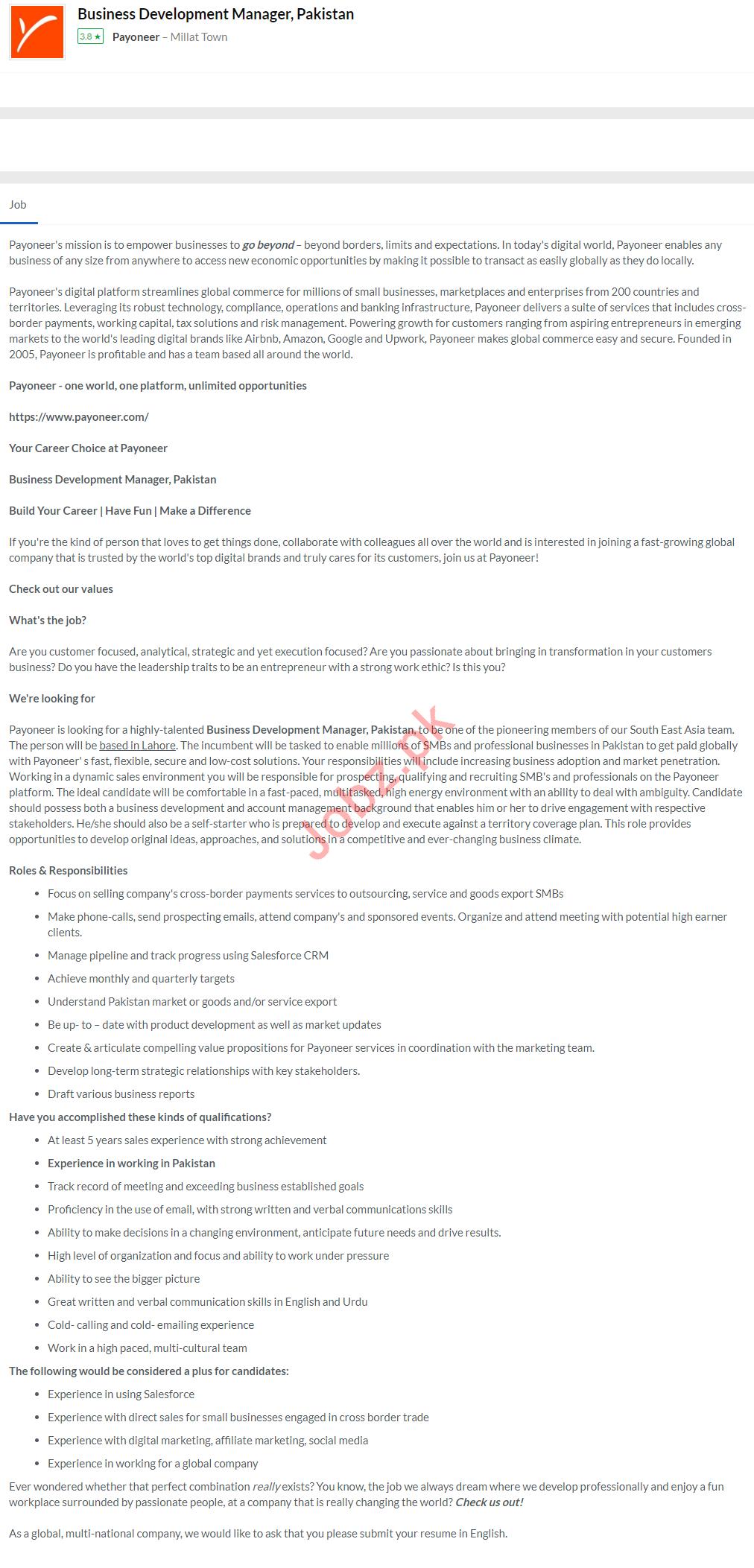 Payoneer Financial Services Company Faisalabad Jobs