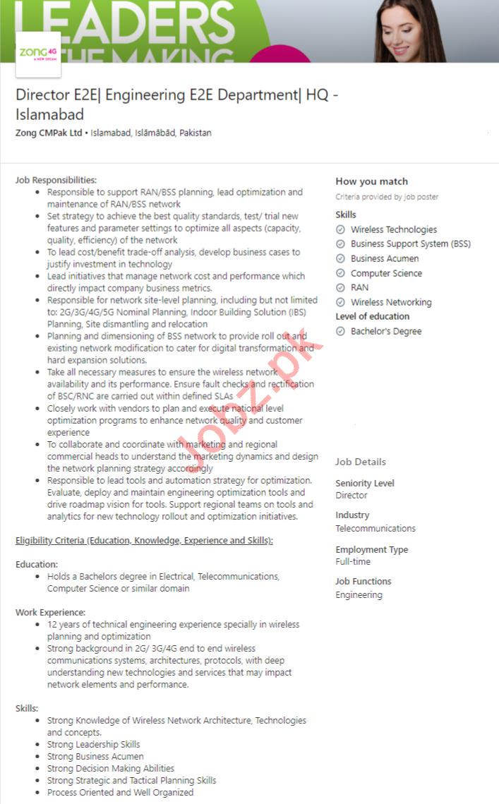 Zong Pakistan Jobs 2020 for Director Engineer