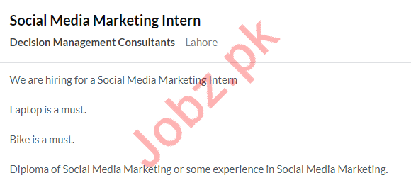 Decision Management Consultants Internship Jobs in Lahore