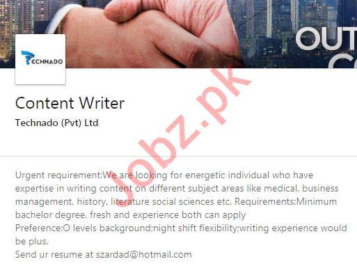 Technado Karachi Jobs 2020 for Content Writer