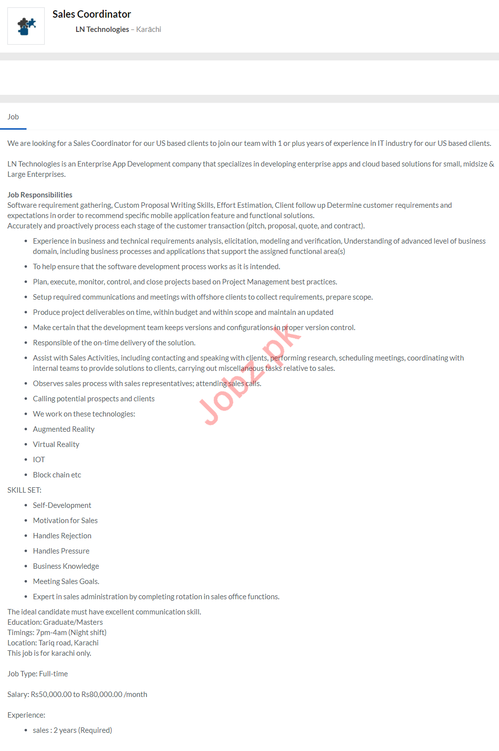 LN Technologies Jobs 2020 in Karachi for Sales Coordinator