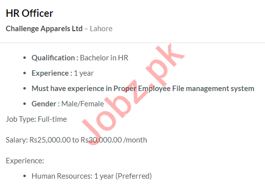 Challenge Apparels Limited Jobs 2020 in Lahore