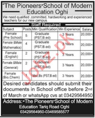 Teachers Jobs in Pioneers School of Modern Education Oghi