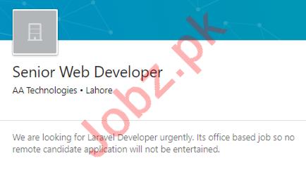 AA Technologies Lahore Jobs 2020 for Senior Web Developer