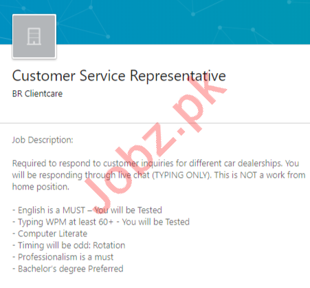 BR Client Care Rawalpindi Jobs 2020 Customer Service Rep