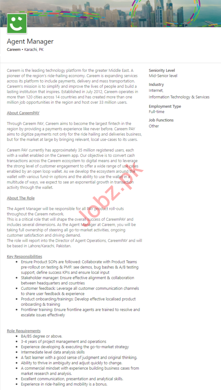 Careem Karachi Jobs 2020 Agent Manager & Supply Lead