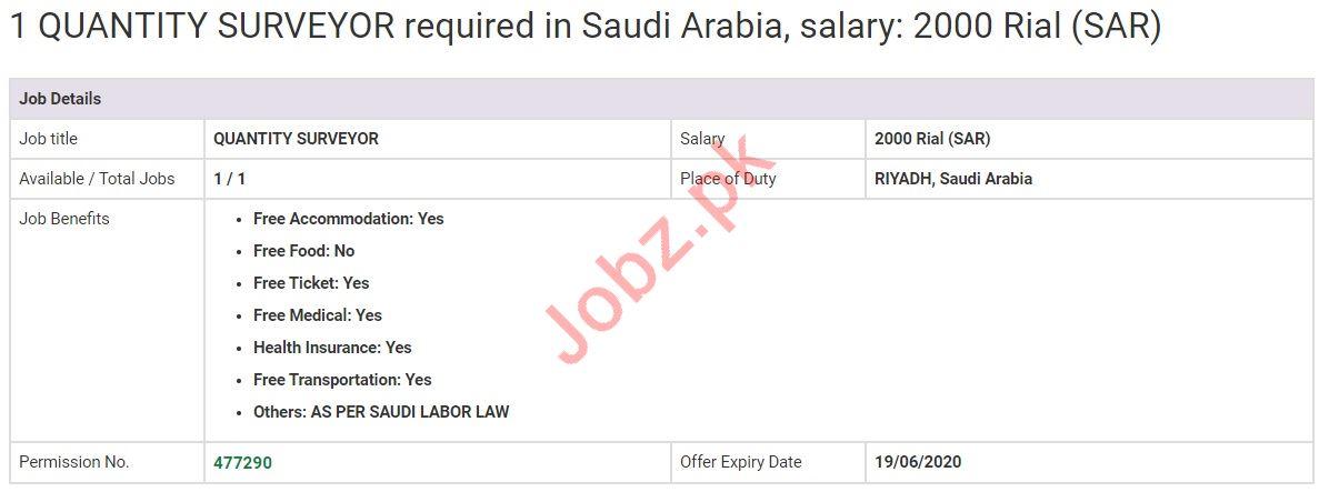 Quantity Surveyor Jobs in Riyadh Saudi Arabia