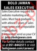 Sales Executive Jobs in Bolo Jawan Documenting Pakistan
