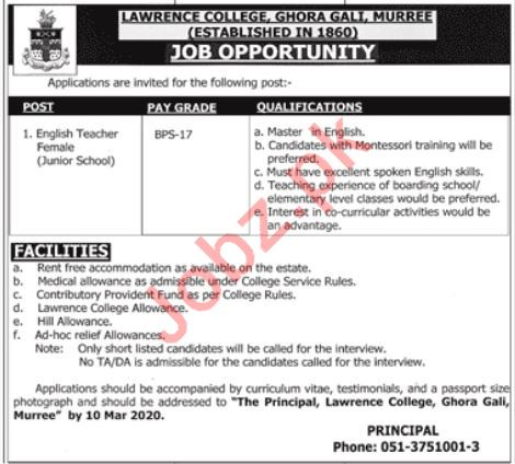 Teaching Staff Jobs in Lawrence College Ghora Gali