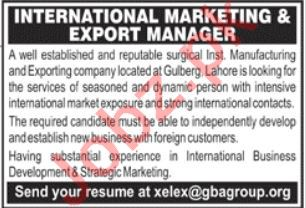 Marketing & Export Manager Jobs in Manufacturing Company