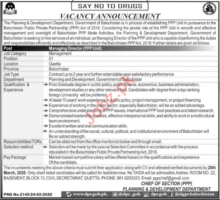 Planning & Development Department Managing Director Jobs