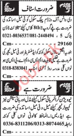 School Coordinator & Teachers Jobs 2020 in Quetta