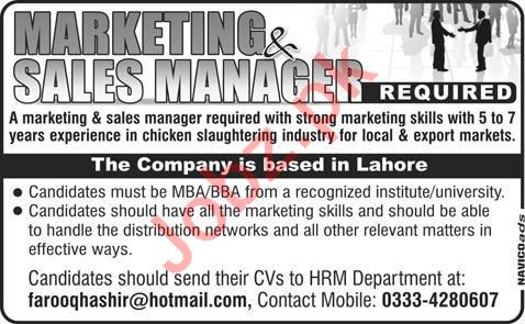 Chicken Slaughtering Company Marketing & Sales Manager Jobs