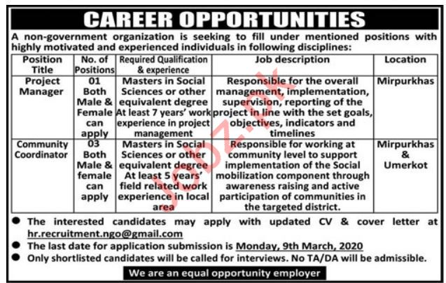 Project Manager & Community Coordinator NGO Jobs 2020