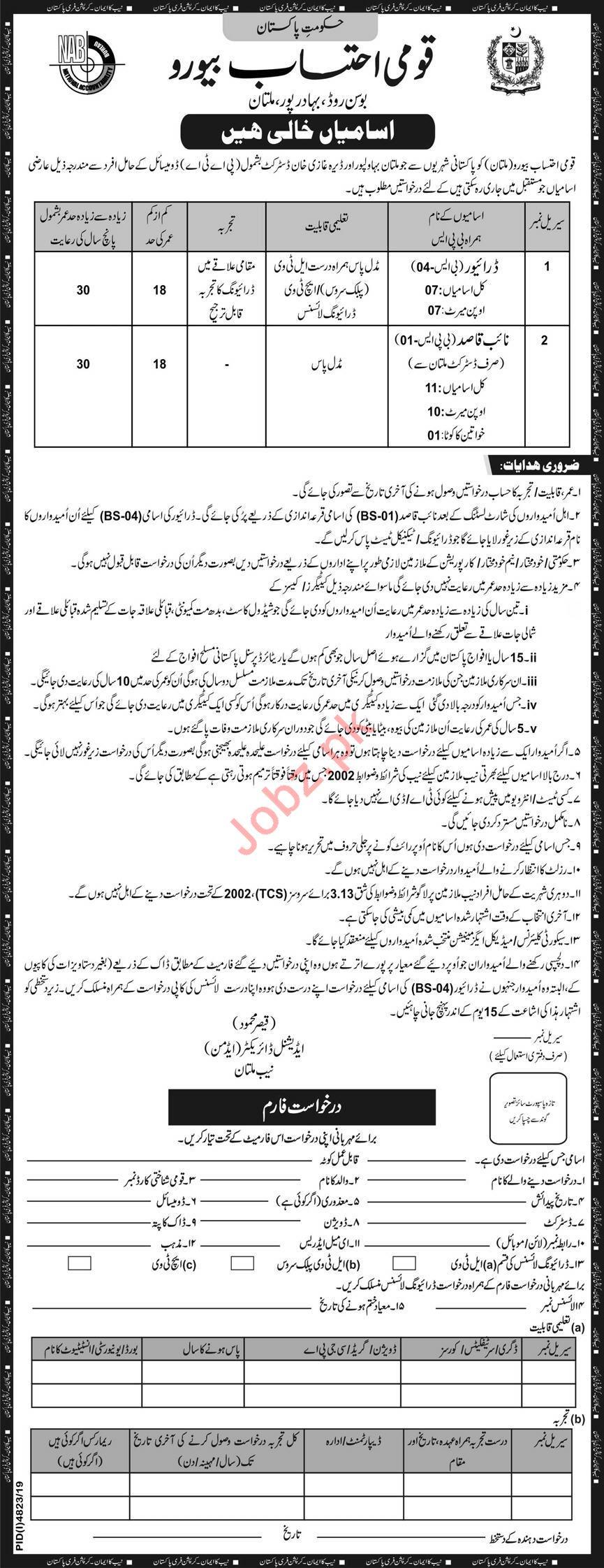National Accountability Bureau NAB Multan Jobs 2020