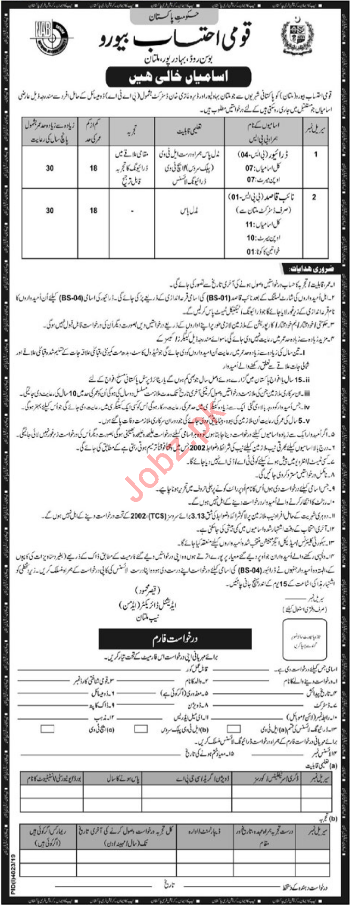 National Accountability Bureau NAB Jobs 2020 in Multan