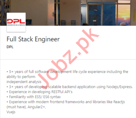 DPL Islamabad Jobs 2020 for Full Stack Engineer