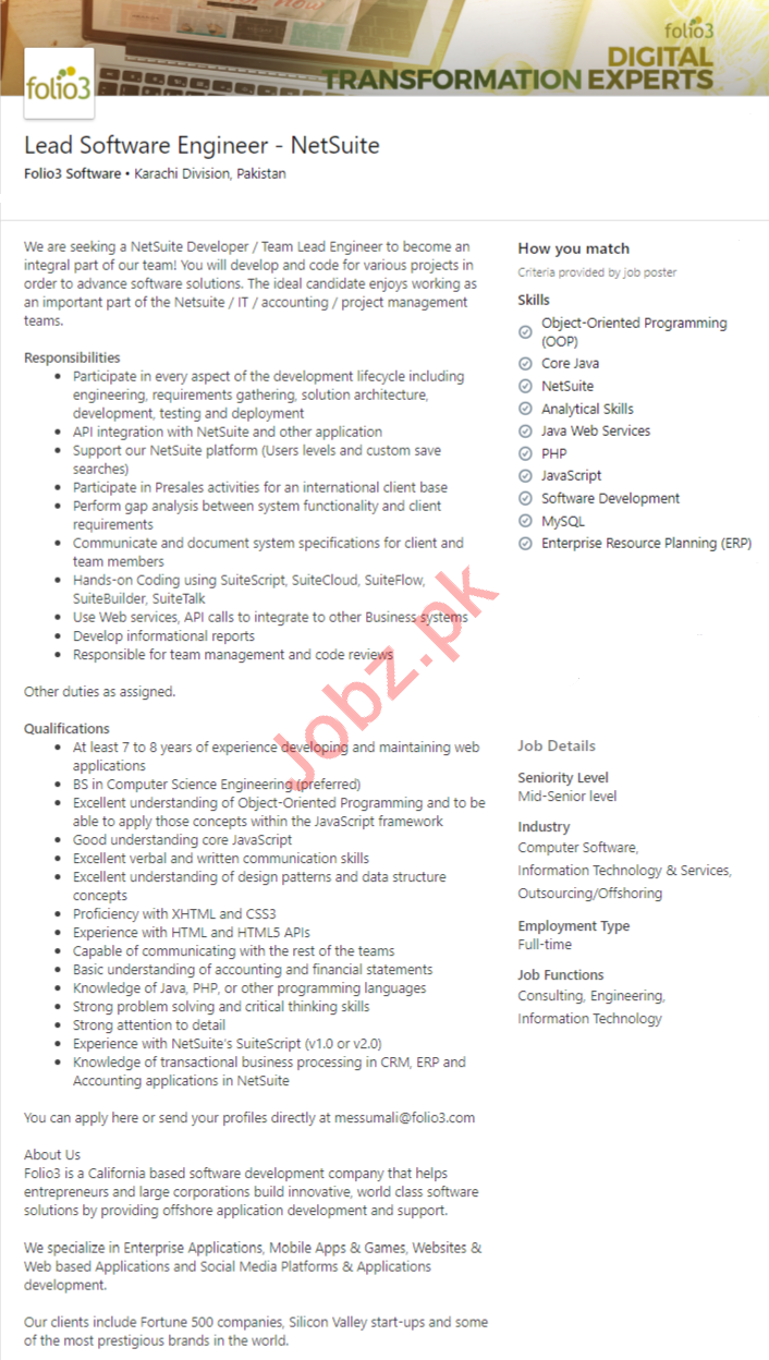 Folio3 Software Karachi Jobs 2020 Lead Software Engineer