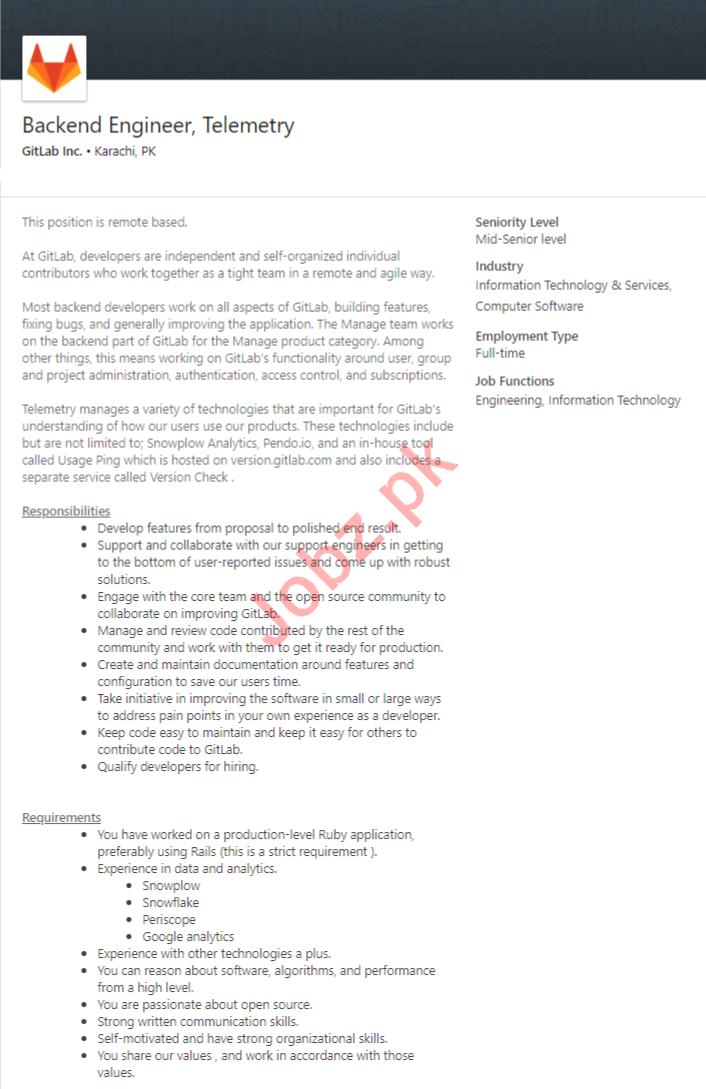 GitLab Inc Karachi Jobs 2020 Backend Engineer