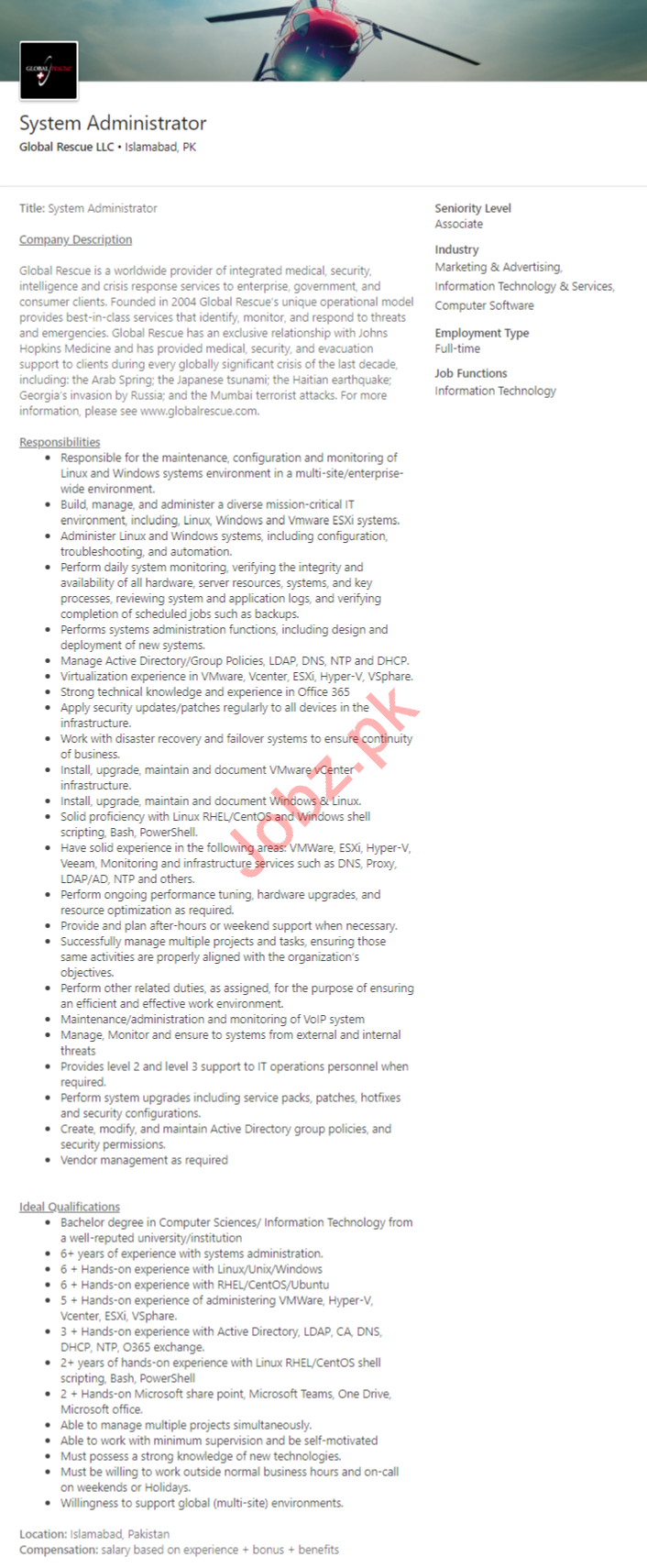 Global Rescue LLC Islamabad Jobs 2020 for Cloud Engineer