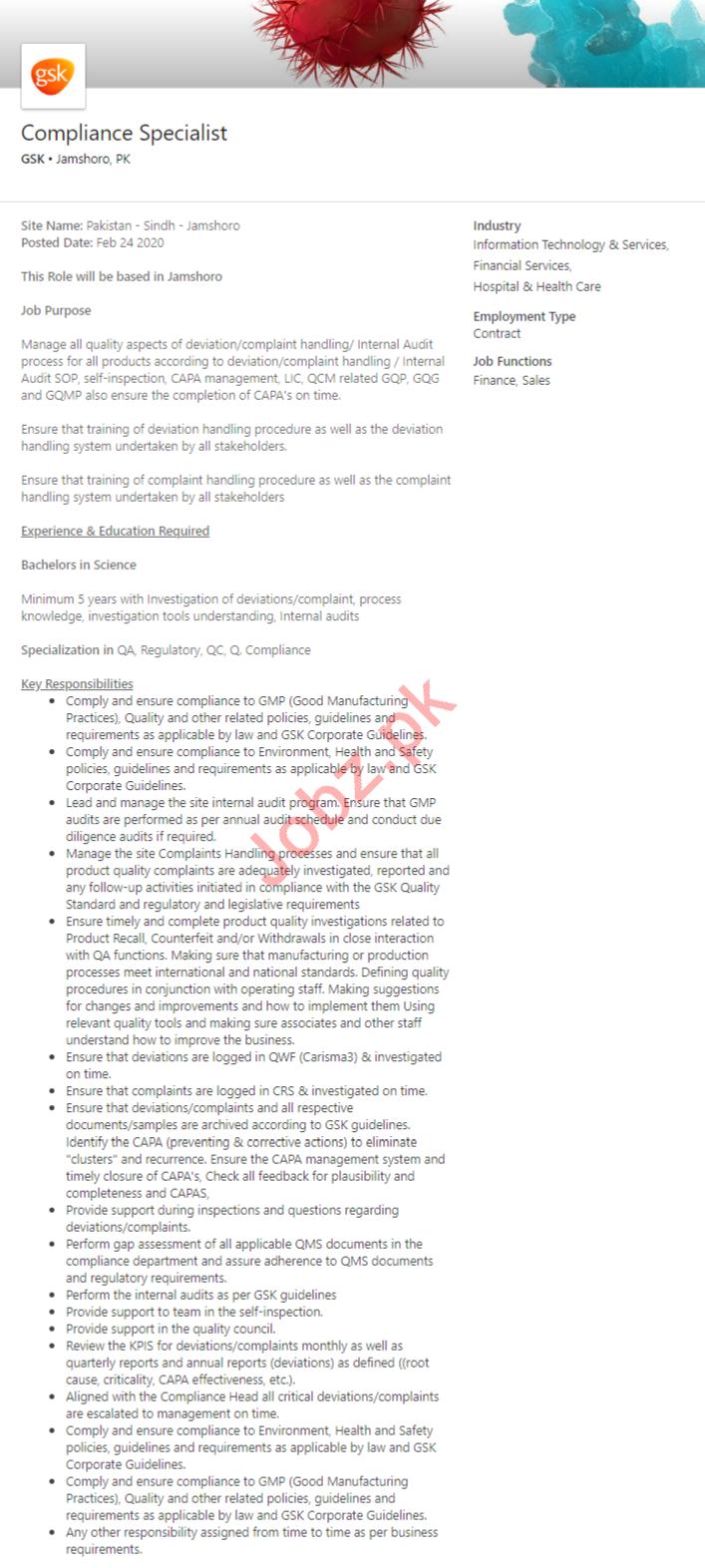 GSK Pharmaceutical Karachi Jobs for Project Trainee